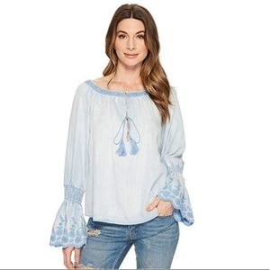 Michael Stars Denim Striped Frilled Peasant Top